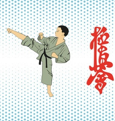 The boy shows karate on a light background vector