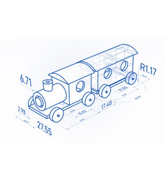Toy train with drawing design elements blueprint vector