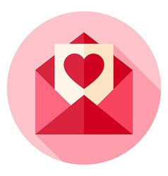 Valentine Day Love Postcard with Envelope Circle vector image