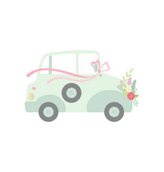 vintage car decorated with bow and flowers vector image