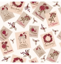 Vintage Christmas Stams Light Seamless vector