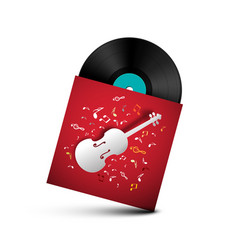 vinyl record - retro lp disc in red paper cover vector image
