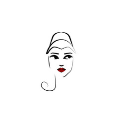 watteau hat girl icon element beautiful girl vector image