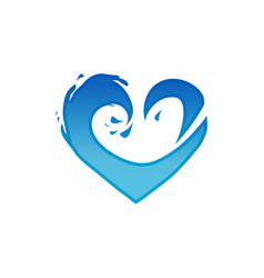 waves heart logo vector image