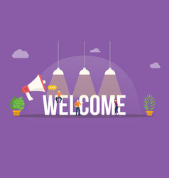 Welcome big word text with team people around vector
