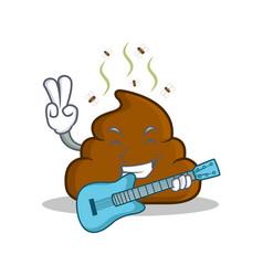 With guitar poop emoticon character cartoon vector