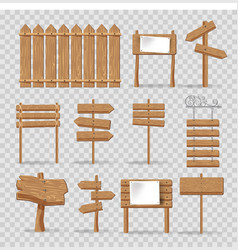 Wooden signs signages and direction arrows vector