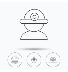 Worker minerals and engineering helm icons vector image