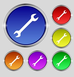 Wrench icon sign Round symbol on bright colourful vector