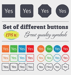 Yes sign icon Positive check symbol Big set of vector