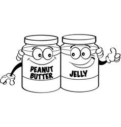 Cartoon peanut butter and jelly jars vector