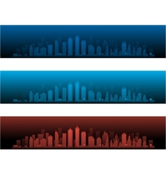 City Skylines in two night versions and sunset vector image
