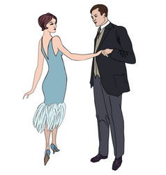 Couple on party in vintage style 1920s vector