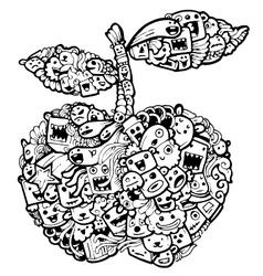 Doodle apple cartoon-hand drawn vector