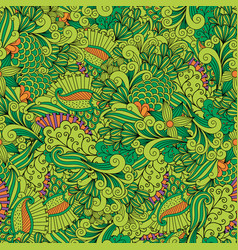 green zentangle leaves ornamental pattern vector image