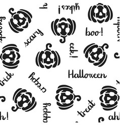 pumpkin and halloween word seamless pattern black vector image vector image