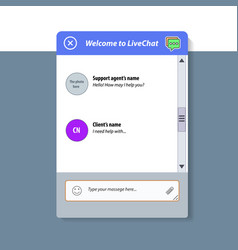 the live chat window vector image vector image
