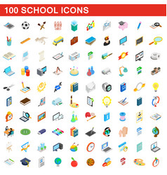100 school icons set isometric 3d style vector image
