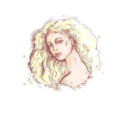 color sketch portrait of vector image