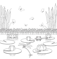 Coloring page with pond inhabitants and plants vector image