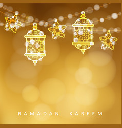 islamic greeting card garlands with oriental vector image vector image