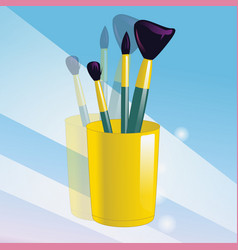 realistic mockup glass and makeup brushes vector image