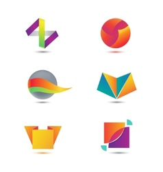 set of abstract geometric colorful icons vector image vector image