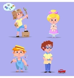 Group of cute happy cartoon kids vector
