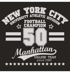 Manhattan t-shirt graphics vector image vector image