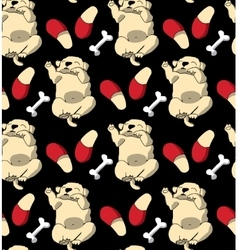 Puppy cute rest sleep relax seamless pattern dark vector image