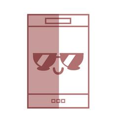 silhouette kawaii cute tender smartphone vector image