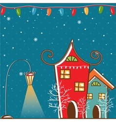 Winter landscape with Christmas motifs vector image