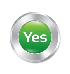 Yes button accept green round sticker vector image
