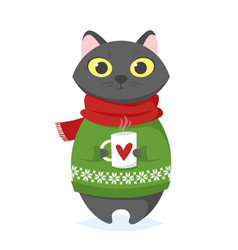 cartoon style of christmas cat with cup vector image vector image