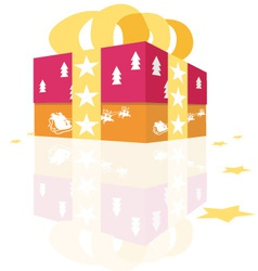Christmas gift with stars vector image vector image