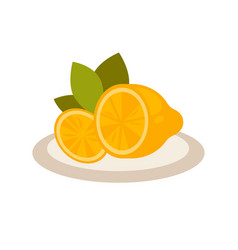 cut lemon as flavor additive to tea on plate vector image