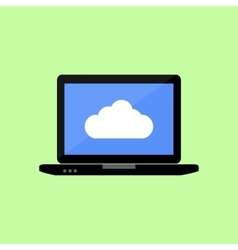 Flat style laptop with cloud vector image
