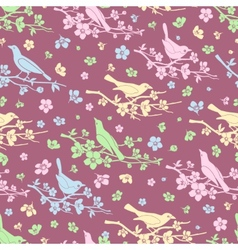 Flowers and birds seamless background vector image