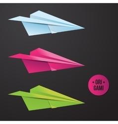 paper origami plane icon Colorful origamy vector image