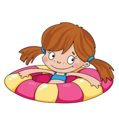 swimmer funny girl vector image