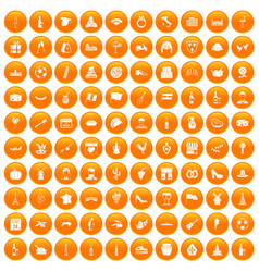 100 wine icons set orange vector image
