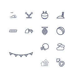 13 blue icons vector