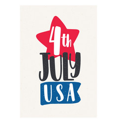 4th july holiday lettering handwritten with vector image