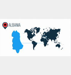 Albania location on the world map for vector