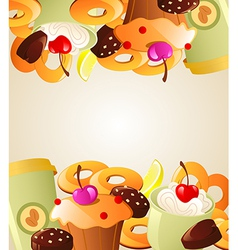 Background with sweet cakes vector image