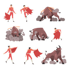 Bullfighter and attacking bull set toreador vector