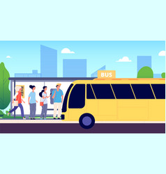 bus stop city transport people waiting buses vector image