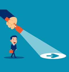 business leader flashlight uncovering hidden vector image