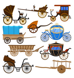 Carriage vintage transport with old wheels vector