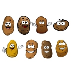 Cartoon funny smiling potatoes vegetables vector